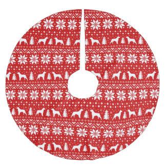 ブリッタニーはクリスマスパターン赤のシルエットを描きます ブラッシュドポリエステルツリースカート