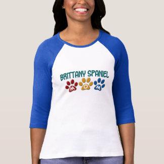 ブリッタニースパニエル犬のお母さんの足のプリント1 Tシャツ