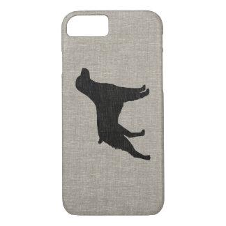 ブリッタニースパニエル犬のシルエットの模造のなリネンスタイル iPhone 8/7ケース