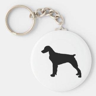 ブリッタニースパニエル犬のシルエット愛はシルエットの後をつけます キーホルダー