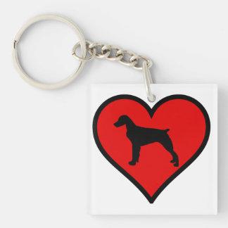 ブリッタニースパニエル犬のハート愛はシルエットの後をつけます キーホルダー