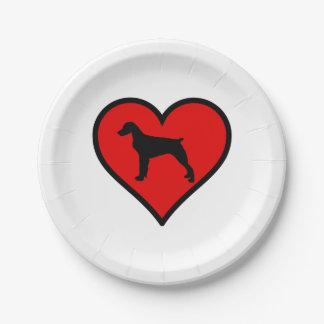 ブリッタニースパニエル犬のハート愛はシルエットの後をつけます ペーパープレート