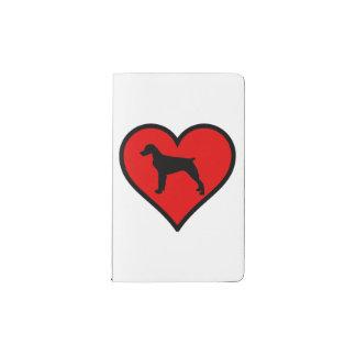 ブリッタニースパニエル犬のハート愛はシルエットの後をつけます ポケットMoleskineノートブック