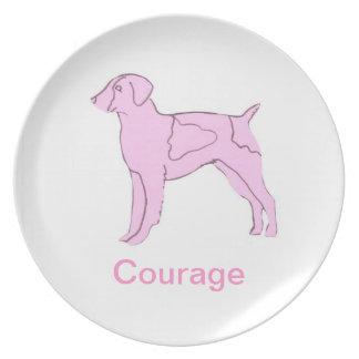 ブリッタニースパニエル犬の勇気の蟹座の認識度のプレート プレート