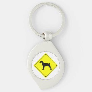 ブリッタニースパニエル犬の警告標識愛はシルエットの後をつけます キーホルダー