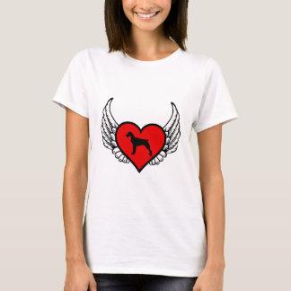 ブリッタニースパニエル犬の飛んだハート愛はシルエットの後をつけます Tシャツ