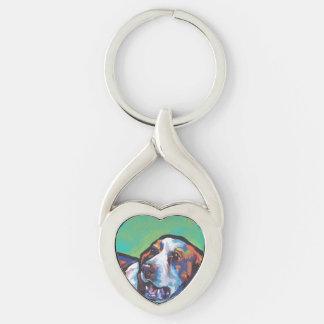 ブリッタニースパニエル犬犬のおもしろいの明るいポップアート キーホルダー
