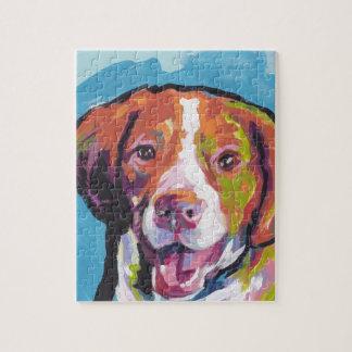 ブリッタニースパニエル犬犬のおもしろいの明るいポップアート ジグソーパズル