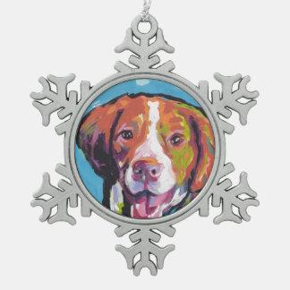 ブリッタニースパニエル犬犬のおもしろいの明るいポップアート スノーフレークピューターオーナメント
