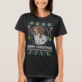 ブリッタニースパニエル犬犬の品種醜いクリスマスのセーター Tシャツ