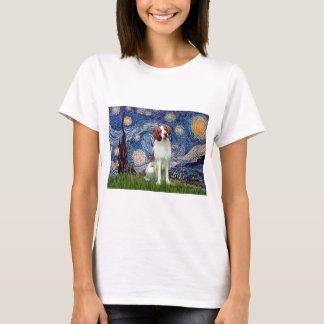 ブリッタニースパニエル犬3 -星明かりの夜 Tシャツ