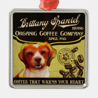 ブリッタニースパニエル犬- Organic Coffee Company メタルオーナメント