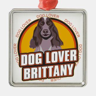 ブリッタニー犬の恋人 メタルオーナメント