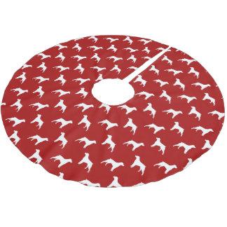 ブリッタニー犬はパターン赤のシルエットを描きます ブラッシュドポリエステルツリースカート