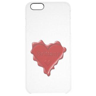 ブリッタニー。 一流のブリッタニーが付いている赤いハートのワックスのシール クリア iPhone 6 PLUSケース