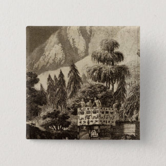 ブリティッシュ・コロンビアのイラストレーションの眺め 5.1CM 正方形バッジ