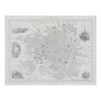 ブリュッセルのヴィンテージの地図 ポストカード