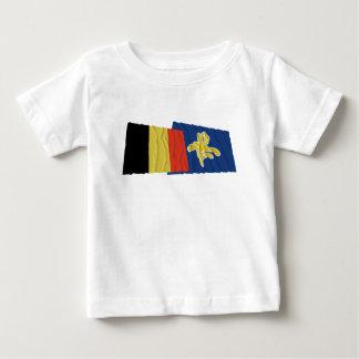 ブリュッセルの振る旗のベルギーそして地域 ベビーTシャツ
