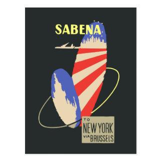 ブリュッセルを経てニューヨークへのサベナ・ベルギー航空レトロの航空会社 ポストカード