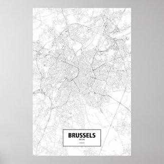 ブリュッセル、ベルギー(白の黒) ポスター