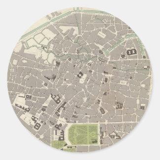 ブリュッセル(1837年)のヴィンテージの地図 ラウンドシール