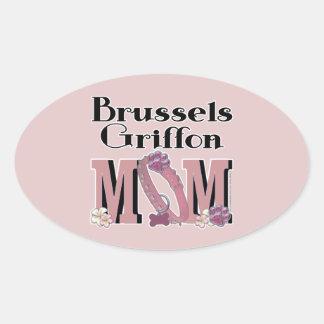ブリュッセルGriffonのお母さん 楕円形シール