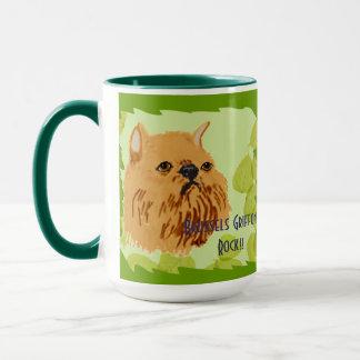 ブリュッセルGriffonの~の緑の葉のデザイン マグカップ