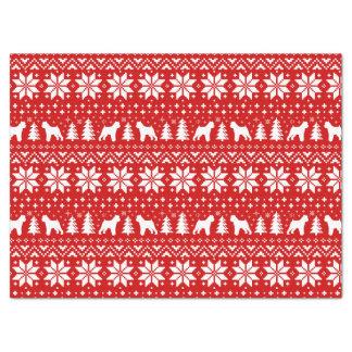 ブリュッセルGriffonはクリスマスパターン赤のシルエットを描きます 薄葉紙