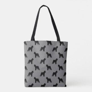ブリュッセルGriffonはパターン灰色のシルエットを描きます トートバッグ