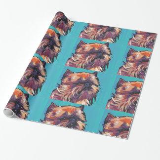 ブリュッセルGriffon犬のおもしろいの明るいポップアート ラッピングペーパー