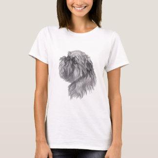 ブリュッセルGriffon犬の木炭芸術のスケッチ Tシャツ