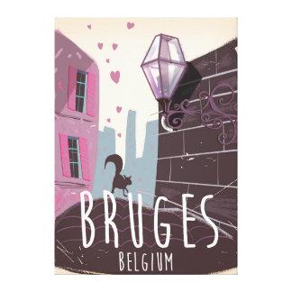 ブリュージュ、ベルギーの漫画旅行ポスター キャンバスプリント