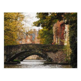ブリュージュ、ベルギー運河 ポストカード