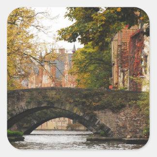 ブリュージュ、ベルギー運河 正方形シール・ステッカー
