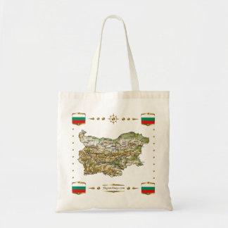 ブルガリアの地図 + 旗のバッグ トートバッグ