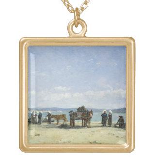 ブルターニュの漁師の妻1870-73年(窓ガラスの油 ゴールドプレートネックレス