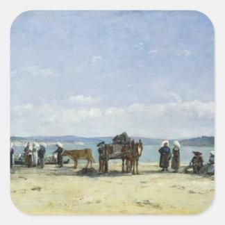 ブルターニュの漁師の妻1870-73年(窓ガラスの油 スクエアシール