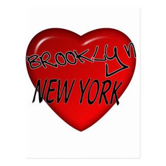 ブルックリンニューヨークのハートのロゴ ポストカード
