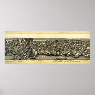 ブルックリン乏しい1880年のNYのパノラマ ポスター
