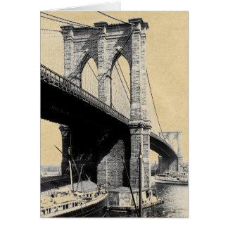 ブルックリン橋のフェリーボート1896年 グリーティングカード
