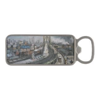 ブルックリン橋のヴィンテージNYCニューヨークの都市景観 マグネット栓抜き