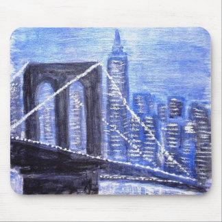 ブルックリン橋の冬夜 マウスパッド