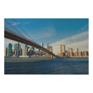 ブルックリン橋の壁の芸術からのニューヨークのスカイライン ウッドウォールアート