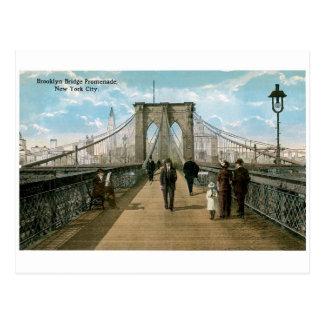 ブルックリン橋の遊歩道、ニューヨークシティ ポストカード