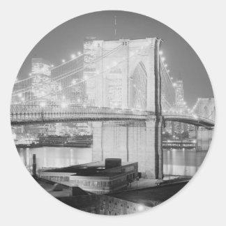 ブルックリン橋の黒及び白 ラウンドシール