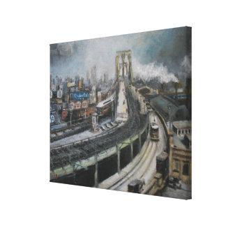 ブルックリン橋を絵を描くヴィンテージニューヨークシティ キャンバスプリント