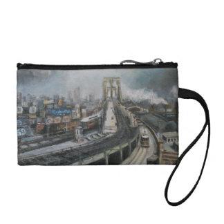 ブルックリン橋を絵を描くヴィンテージニューヨークシティ コインパース