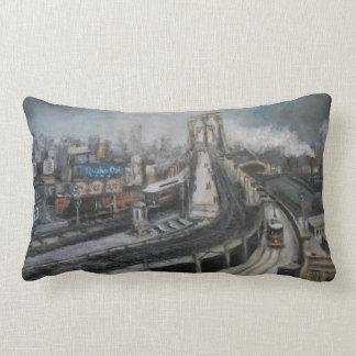 ブルックリン橋を絵を描くヴィンテージニューヨークシティ ランバークッション