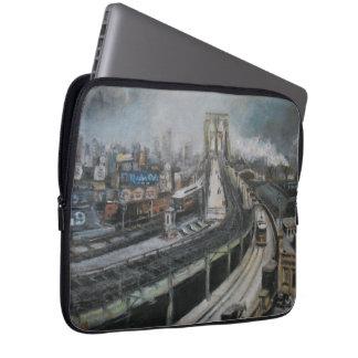 ブルックリン橋を絵を描くヴィンテージニューヨーク ラップトップスリーブ