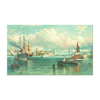 ブルックリン橋1887年が付いているニューヨーク港 キャンバスプリント